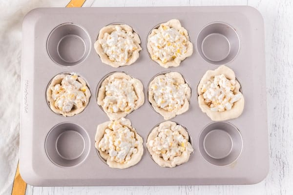 biscuits filled with chicken corn and cheese mixture