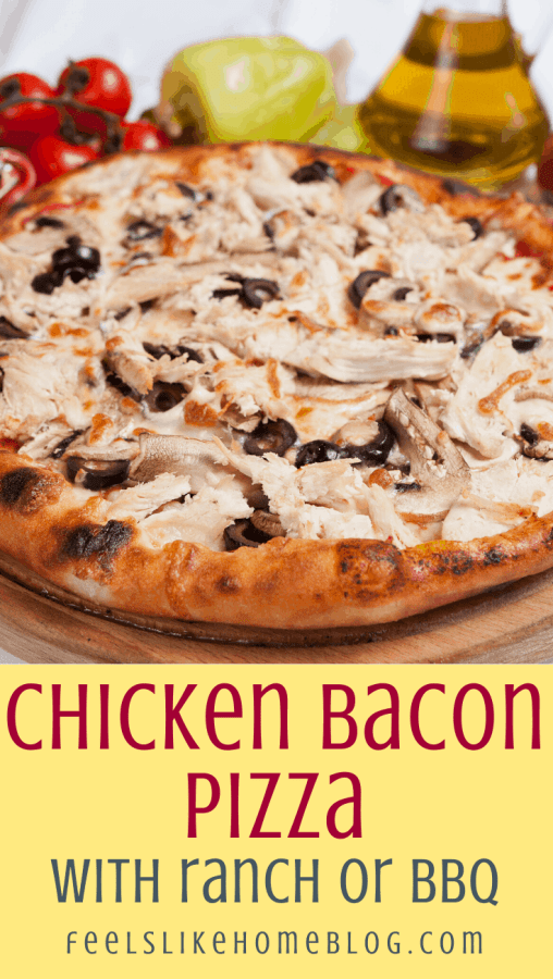 round pizza with BBQ chicken and bacon