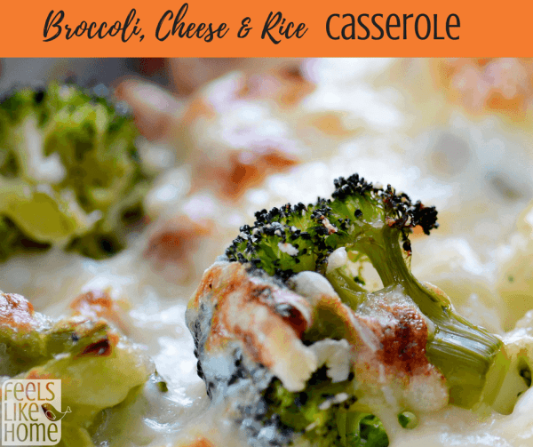 A close up of a plate of food with broccoli, with Casserole and Cheese