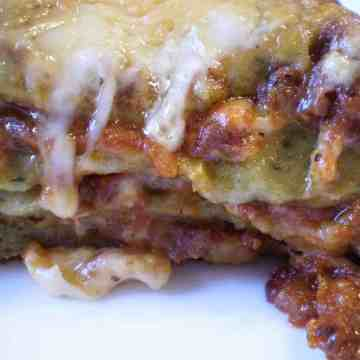 lasagna with homemade spinach noodles