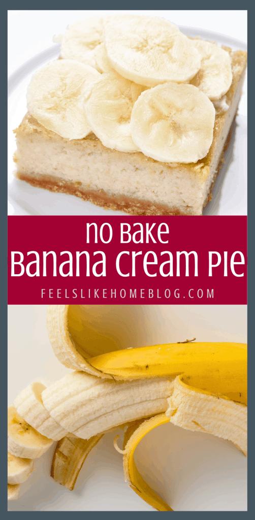 A sliced banana on a plate, with Cream pie
