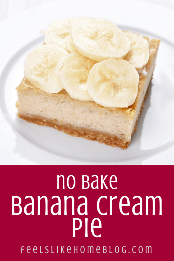A slice of cream pie on a plate, with Banana