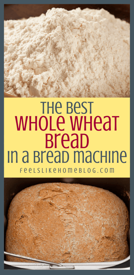 collage of whole wheat flour and bread machine
