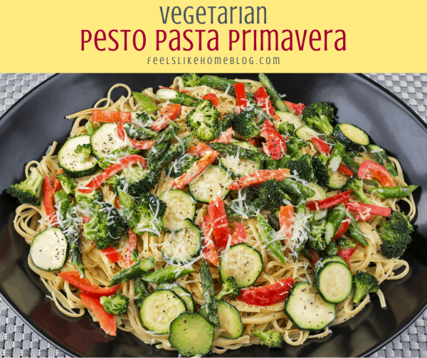 pasta primavera with pesto, zucchini, and spaghetti