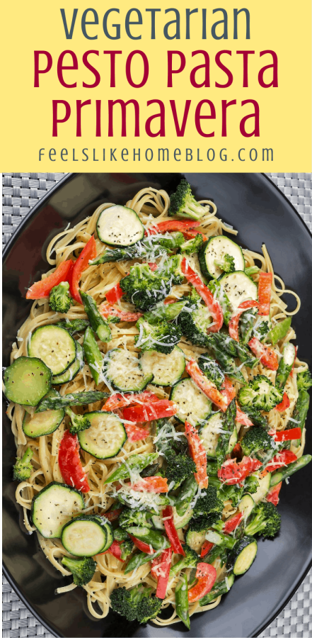 spaghetti primavera with pesto and zucchini