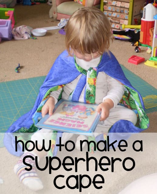 how to make a superhero cape for kids - great for boys or for girls, this simple and easy cape needs no pattern, just a few measurements. The finished cape is awesome and fun for children. Perfect for birthday or costume or everyday pretend play. Use any fabric for this project.