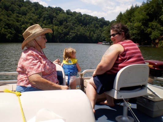 My Grandma, Grace, and me on the front deck of Uncle Mark's boat
