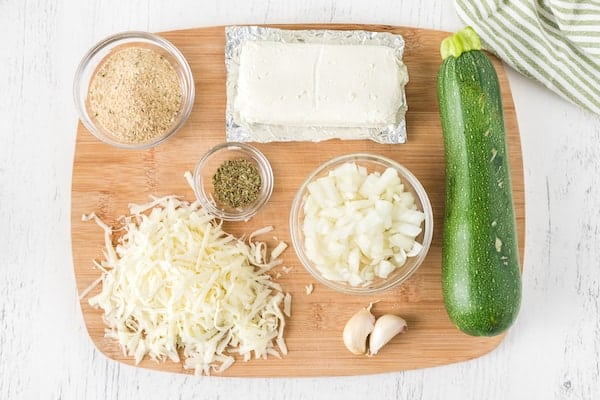 ingredients for cheese stuffed zucchini