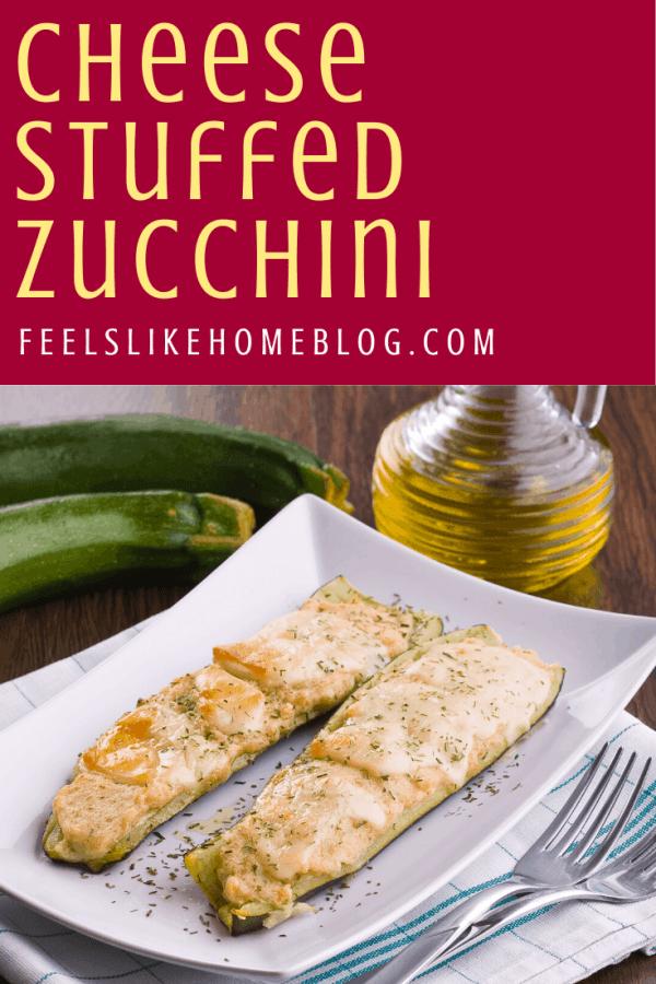cheesy zucchini on a plate