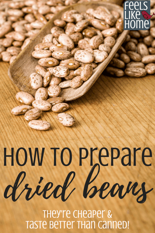 How to prepare and use dried beans - Dried are healthier and better tasting than canned, and they produce less gas! There isn't really a quick method that makes beans soft and nice, but you can soak and store a healthy amount of beans overnight to cook the next day. Includes recipe for crockpot, slow cooker, and instant pot or pressure cooker. Great for simple and easy dinners!