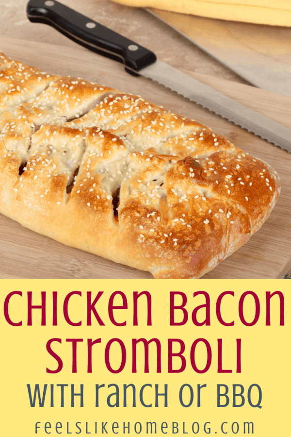 ranch dressing, chicken, and mushrooms and cheese in a stromboli