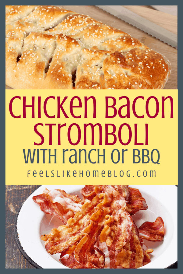 BBQ chicken stromboli with a bowl of bacon