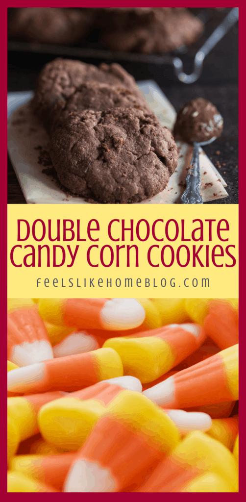 a collage of chocolate cookies and candy corn