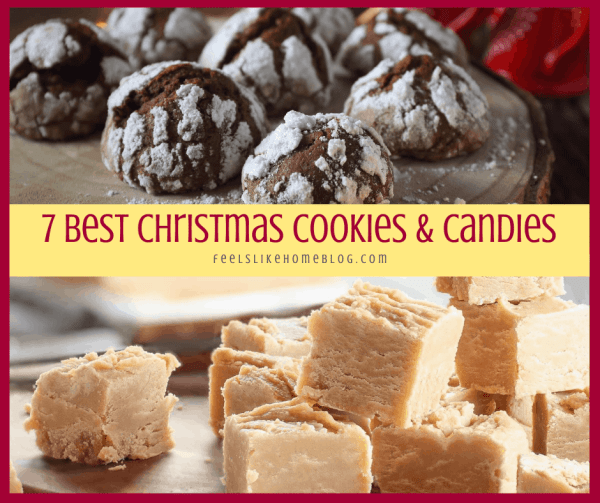 a collage of Christmas crinkle cookies and peanut butter fudge
