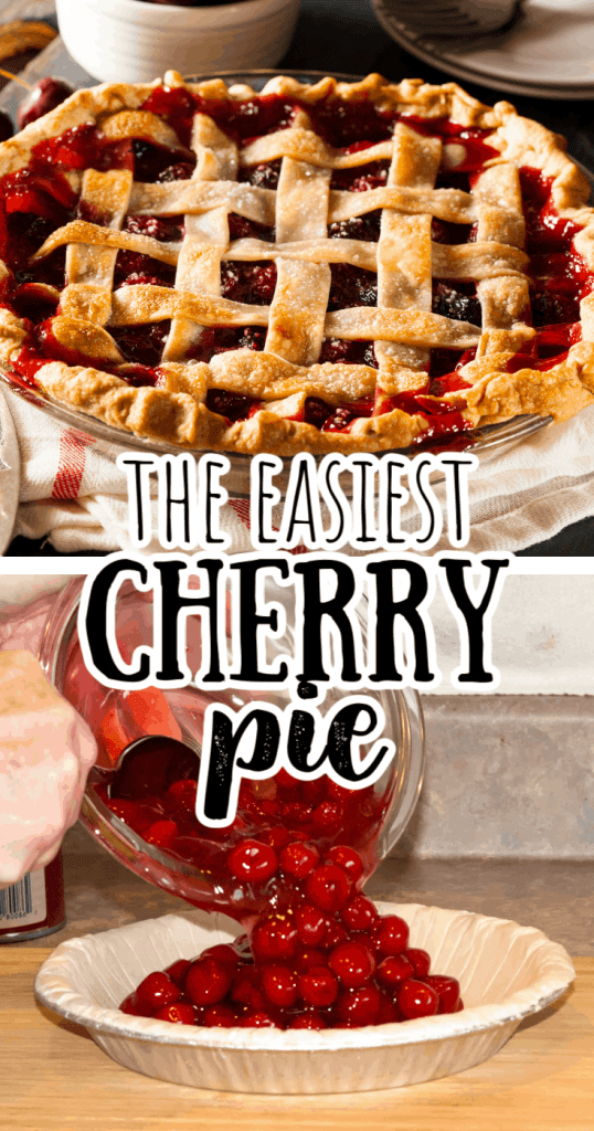 a collage of easy cherry pie