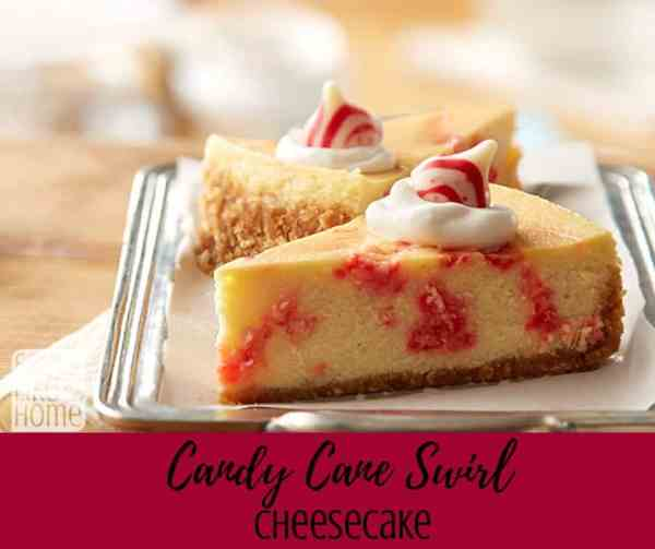 A close up of a piece of cheesecake on a plate, with Candy cane
