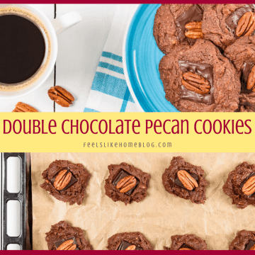 collage of cookies with chocolate and pecans