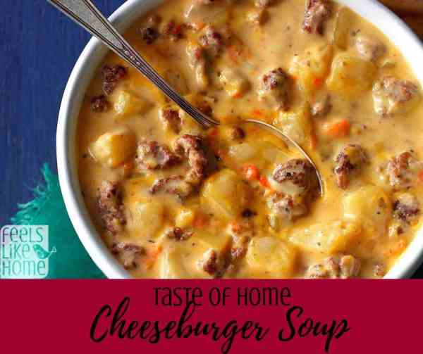 How to make the best cheeseburger soup recipe - This simple and easy award winning recipe comes from the Taste of Home magazine. It uses potatoes or frozen hashbrowns, Velveeta cheese, and of course hamburger. Made on the stovetop.