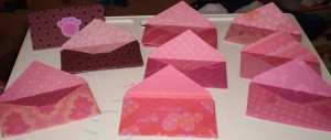 A close up of all the different Valentine\'s Day envelopes