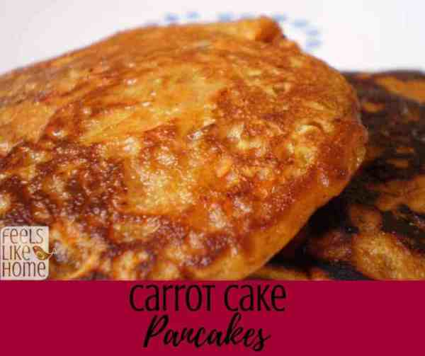 How to make the best carrot cake pancakes - This simple and easy recipe is also super healthy! Can be made for breakfast, brunch, or dinner. Brown sugar and cinnamon make them a little sweet and very tasty, a hit with kids and adults.