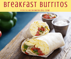 healthy breakfast burritos cut in half