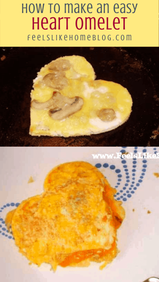 collage of two omelets, with hearts