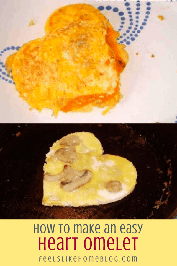 cooked and cooking heart shaped omelets