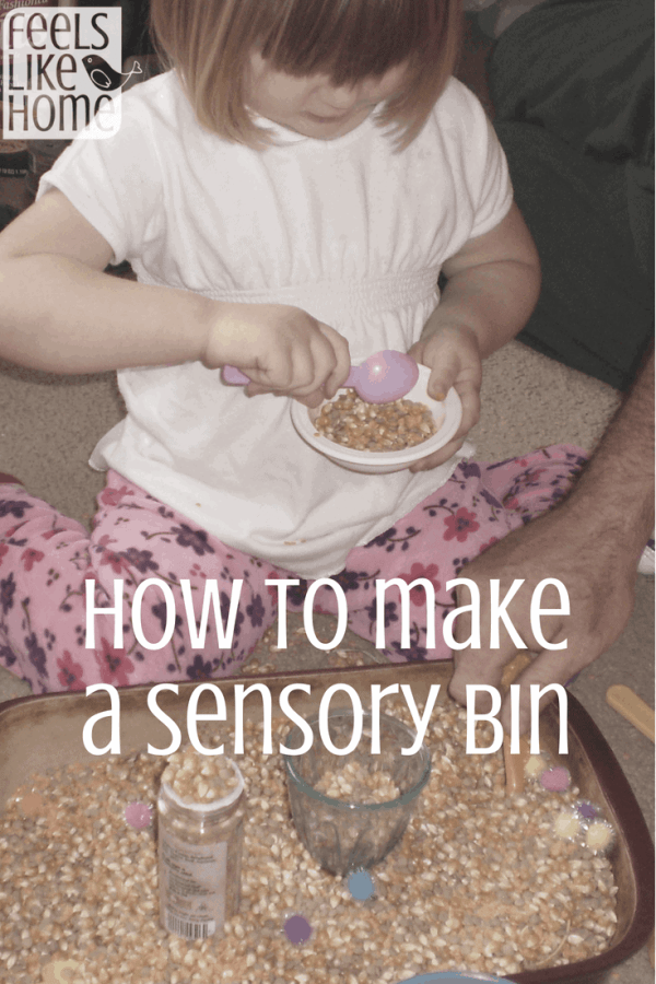 How to make a fun sensory bin for kids - Toddlers and preschoolers love sensory materials! Colored rice, lentils, popcorn, dried beans, and other small items make the perfect base for stickers, pompoms, and other slightly larger bits. Children love to pour, sift, and play in this mixture.