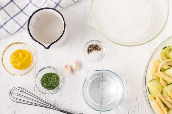 ingredients for cucumber pasta salad