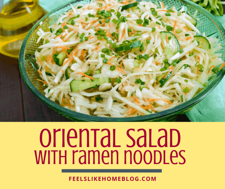 A bowl of oriental salad, with Cabbage and Coleslaw and ramen noodles