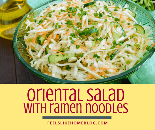 A bowl of oriental salad, with ramen noodles and Cabbage and Coleslaw