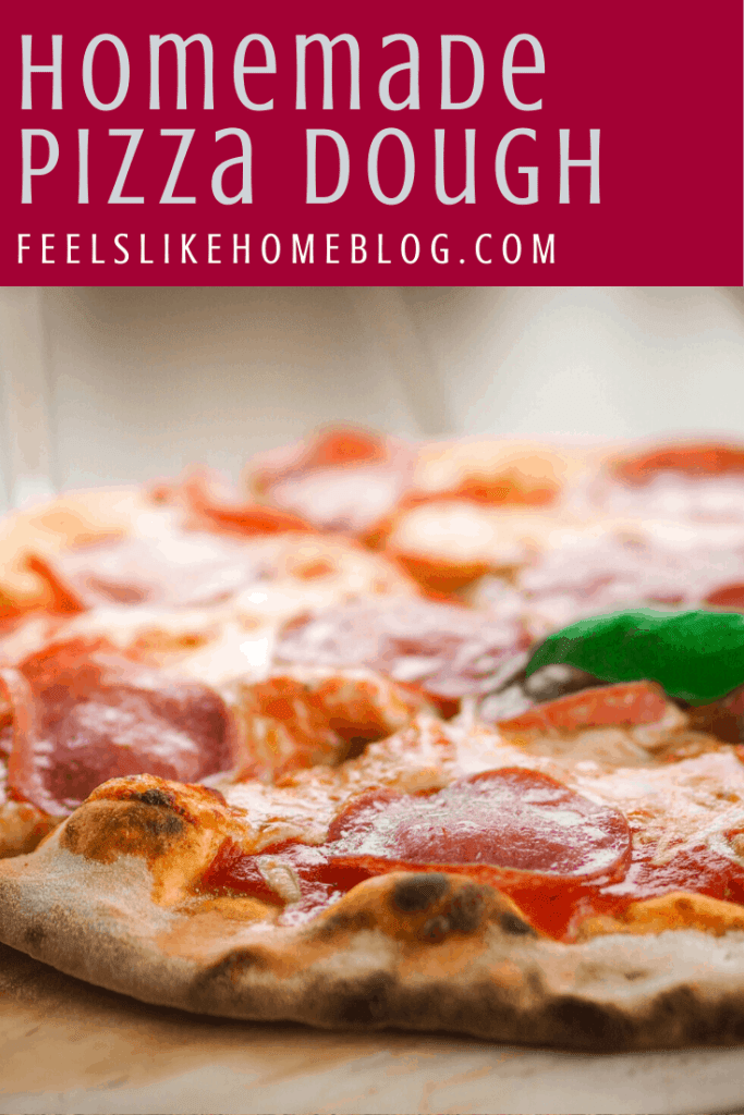 How to make the best homemade pizza dough - This easy recipe uses yeast and all purpose flour to make a simple, fast, and healthy thick crust. You can use Instant Yeast or active dry yeast and this recipe has no baking powder. We use our KitchenAid mixer and the dough hook to form the dough. Includes instructions for how to cook the pizza.