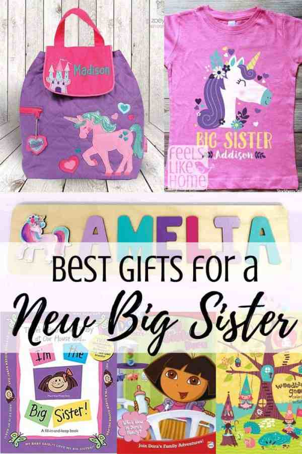 A collage of gifts for a new big sister