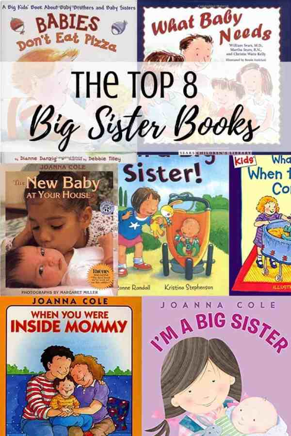 A collage of book covers for big sisters