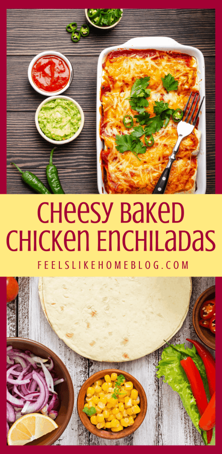 A bunch of different types of food on a table, with chicken Enchiladas