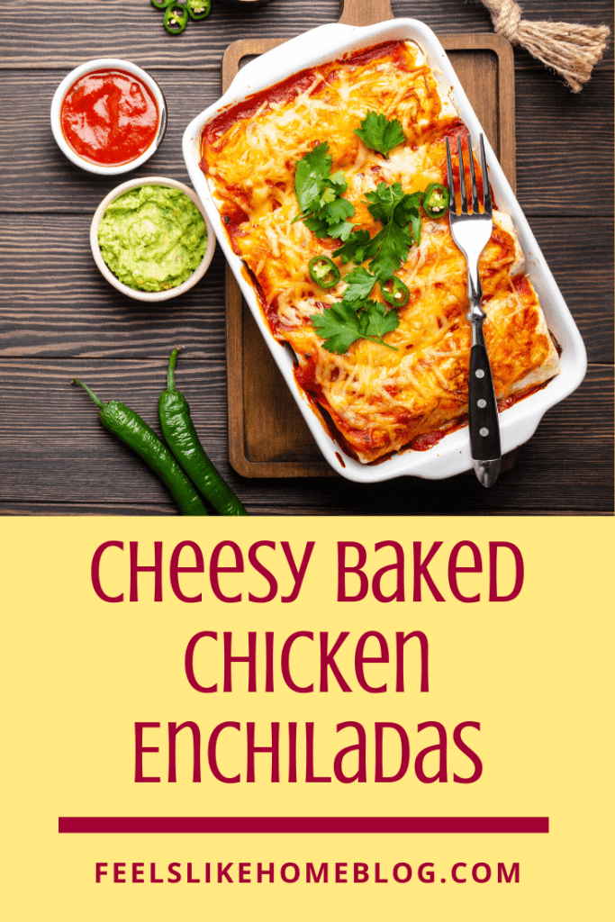 A pan of enchiladas with a fork