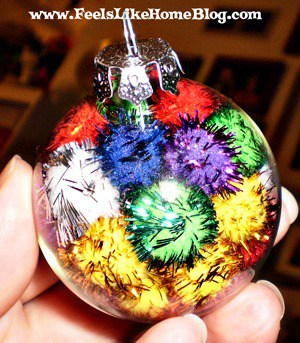 sparkly pom pom ornaments