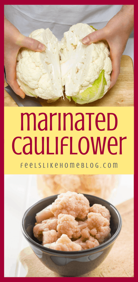 a collage of cauliflower and red wine vinaigrette