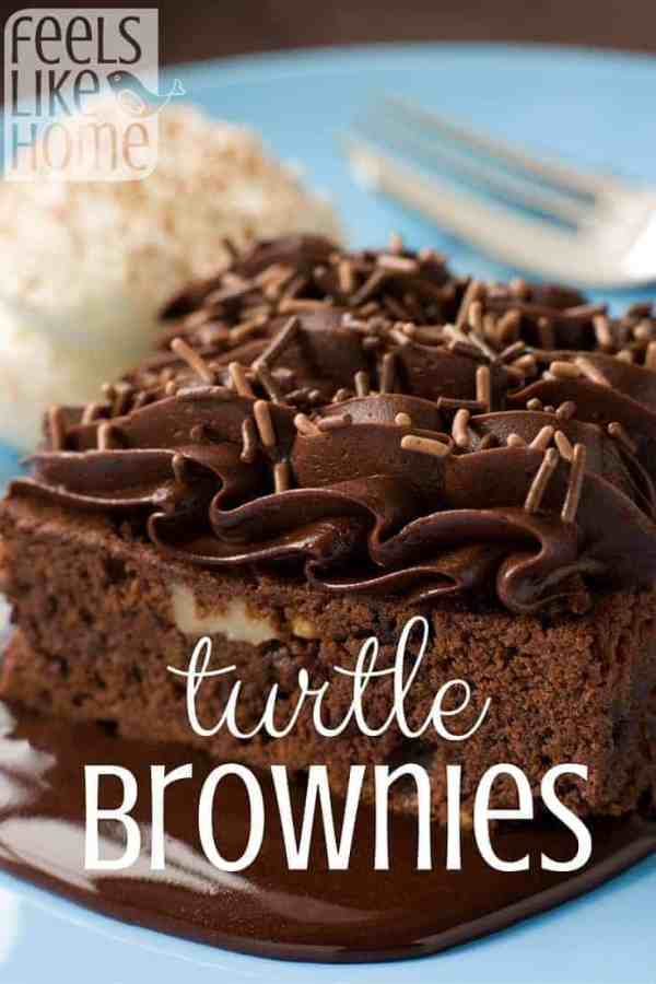 A turtle brownie with caramel