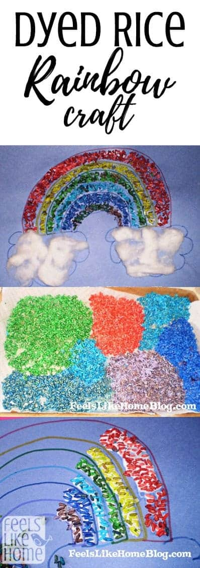 How to make a dyed rice mosaic rainbow craft - This easy project is great for children's fine motor skills as they manipulate tiny grains of rice into a large mosaic. Perfect for the classroom as all the kids can work together to make one rainbow or at home where mom or dad can help. Great sensory experience with lots of texture.