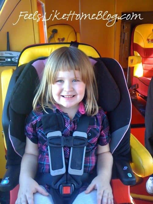 Grace in the Oscar Mayer Wienermobile