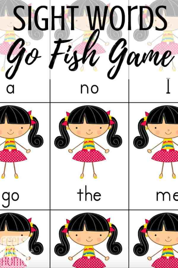 A screenshot of sight words go fish cards