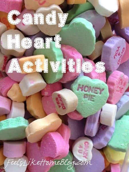 A close up of candy hearts