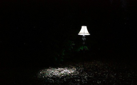 A lamp lit up at night