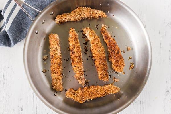 skillet of gluten free chicken tenders