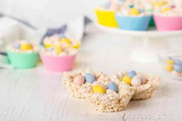 Unwrapped Rice Krispies nests with chocolate eggs inside