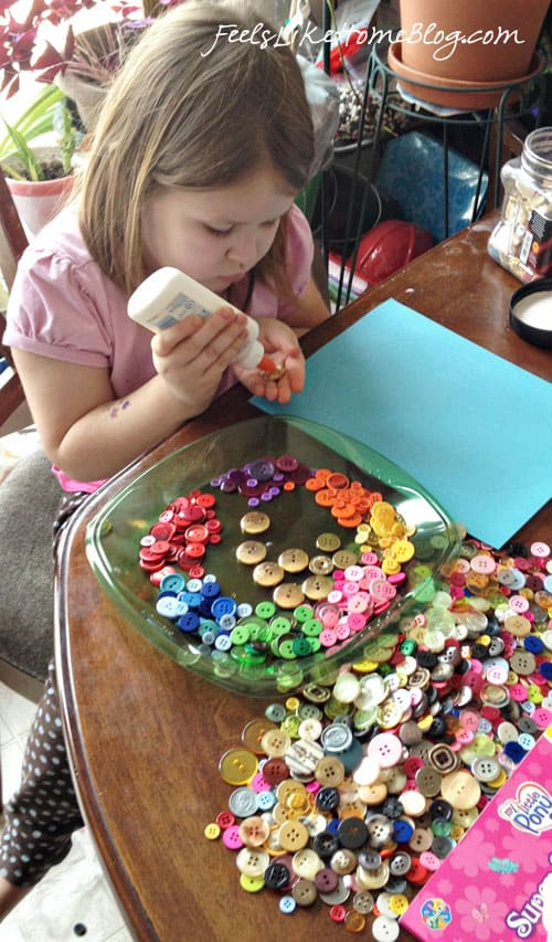 Rainbow Button Egg - Easter Egg Craft