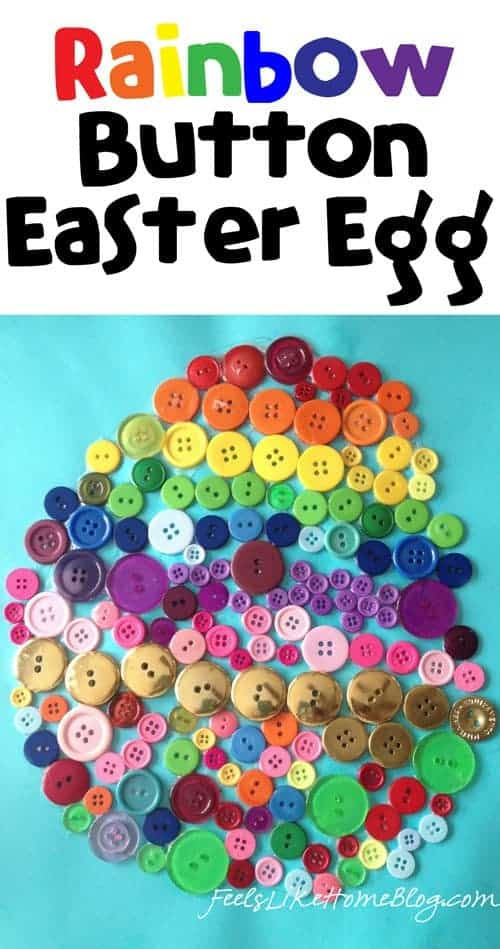 How to make a Rainbow Button Easter Egg Craft for Kids - Easy art project for families and children. Simple and easy creative project using basic shapes.