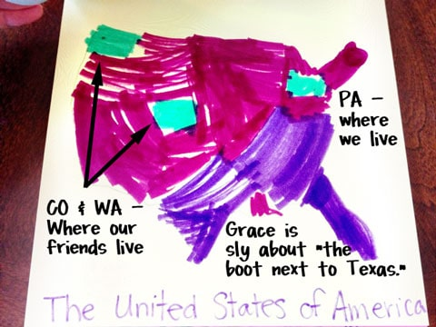 A map of the USA, drawn by a little girl