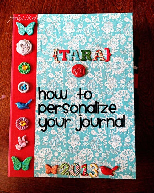 A journal covered in resin shapes